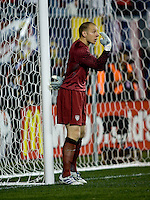 USMNT goalkeeper Bob Guzan tells his teammate to watch him while setting up a free kick during an international friendly at PPL Park in Chester, PA.  The U.S. tied Columbia, 0-0.