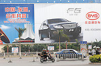 A huge BYD advertisement in Nanning, China. BYD Auto aims to export 750,000 units of its electric cars by 2015..12 Dec 2007