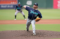 Starting pitcher R.J. Freure (36) of the Asheville Tourists in a game against the Greenville Drive on Sunday, June 6, 2021, at Fluor Field at the West End in Greenville, South Carolina. (Tom Priddy/Four Seam Images)