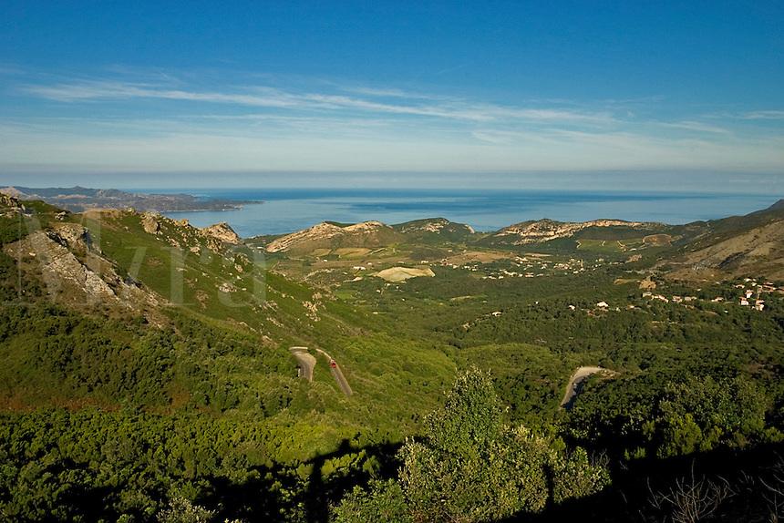 Corsica. Patrimonio village and district on Cap Corse from the Col de Teghime. Golfe de St. Florent. France.  Principal wine producing village and area. .