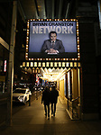 """Theatre Marquee for """"Network"""" starring Bryan Cranston and directed by Ivo van Hove on October 17, 2018 at the Belasco Theatre in New York City."""
