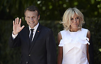 Pictured: (L-R) French President Emmanuel Macron with wife Brigitte outside the Presidential Mansion in Athens, Greece. Thurday 07 September 2017<br /> Re: The official welcome of French President Emmanuel Macron for his state visit to Athens, Greece.