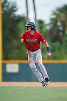 GCL Twins Cole Donaldson (59) leads off second base during a Gulf Coast League game against the GCL Pirates on August 6, 2019 at Pirate City in Bradenton, Florida.  GCL Twins defeated the GCL Pirates 1-0 in the second game of a doubleheader.  (Mike Janes/Four Seam Images)