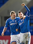 St Johnstone v Motherwell....25.02.14    SPFL<br /> Gary Miller celebrates his goal with Brian Easton<br /> Picture by Graeme Hart.<br /> Copyright Perthshire Picture Agency<br /> Tel: 01738 623350  Mobile: 07990 594431