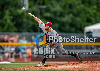 21 July 2019: Tri-City ValleyCat pitcher Kyle Serrano on the mound against the Vermont Lake Monsters at Centennial Field in Burlington, Vermont. The Lake Monsters rallied to defeat the ValleyCats 6-3 in NY Penn League play. Mandatory Credit: Ed Wolfstein Photo *** RAW (NEF) Image File Available ***