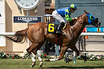 DEL MAR, CA  AUGUST 17: #6 Mr Vargas, ridden by Joseph Talamo, wins the Green Flash Handicap (Grade lll) on August 17, 2019 at Del Mar Thoroughbred Club in Del Mar, CA. (Photo by Casey Phillips/Eclipse Sportswire/CSM)