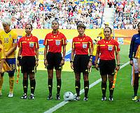 Fifa Women's World Cup Germany 2011 : Zweden - France Frankrijk at Sinsheim World Cup stadium : scheidsrechters : Kari Seitz , Marlene Duffy , Veronica Perez and Quetzalli Alvarado.foto DAVID CATRY / Vrouwenteam.be