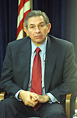 """Washington, DC - March 28, 2003 -- United States Deputy Secretary of Defense Paul Wolfowitz briefs international media at the Foreign Press Center in Washington, DC on March 28, 2003 on """"Eliminating the threat to World Security Posed by the Iraqi Regime and Halting the Torture, Imprisonment and Execution of Innocents"""". He was accompanied by a group of Iraqi-Americans.<br /> Credit: Ron Sachs / CNP"""