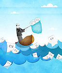 Businessman catching resume from the sea with a fishing net