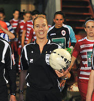 20130913 - ANTWERPEN , BELGIUM : referee Sharon Sluyts pictured during the female soccer match between Royal Antwerp FC Vrouwen / Ladies and K AA Gent Ladies at the BOSUIL STADIUM , of the fourth matchday in the BENELEAGUE competition. Friday 13 September 2013. PHOTO DAVID CATRY