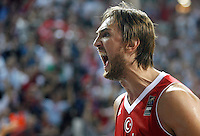 Semih ERDEN (Turkey) celebrates during the semi-final World championship basketball match against Serbia in Istanbul, Serbia-Turkey, Turkey on Saturday, Sep. 11, 2010. (Novak Djurovic/Starsportphoto.com) .