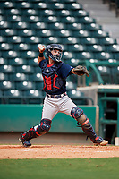 Atlanta Braves catcher Ray Soderman (72) throws to second base during a Florida Instructional League game against the Canadian Junior National Team on October 9, 2018 at the ESPN Wide World of Sports Complex in Orlando, Florida.  (Mike Janes/Four Seam Images)
