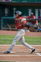 Tyler James (2) of the Idaho Falls Chukars bats against the Ogden Raptors at Lindquist Field on July 29, 2018 in Ogden, Utah. The Raptors defeated the Chukars 20-19. (Stephen Smith/Four Seam Images)