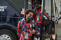 KANSAS CITY, KS - JULY 15: Gianluca Busio #6 of the United States arriving at the stadium before a game between Martinique and USMNT at Children's Mercy Park on July 15, 2021 in Kansas City, Kansas.