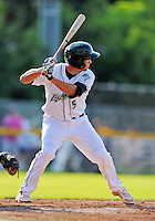 2 July 2011: Vermont Lake Monsters infielder Sean Jamieson in action against the Tri-City ValleyCats at Centennial Field in Burlington, Vermont. The Lake Monsters rallied from a 4-2 deficit to defeat the ValletCats 7-4 in NY Penn League action. Mandatory Credit: Ed Wolfstein Photo