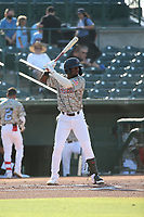 D'Shawn Knowles (8) of the Inland Empire 66ers bats against the Stockton Ports at San Manuel Stadium on June 27 2021 in San Bernardino, California. (Larry Goren/Four Seam Images)