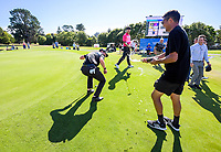 Mako Thompson (right) sprays the champagne on Super 6s champion Daniel Hillier. Final day of the Jennian Homes Charles Tour / Brian Green Property Group New Zealand Super 6s at Manawatu Golf Club in Palmerston North, New Zealand on Sunday, 8 March 2020. Photo: Dave Lintott / lintottphoto.co.nz