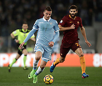 Calcio, Serie A: Roma, stadio Olimpico, 1marzo 2017.<br /> Lazio's Sergej Milinkovic (r) in action with Roma's Federico Fazio (r) during the Italian TIM Cup 1st leg semifinal football match between Lazio and AS Roma at Rome's Olympic stadium, on March 1, 2017.<br /> UPDATE IMAGES PRESS/Isabella Bonotto