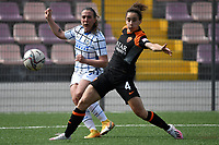 Gloria Marinelli of FC Internazionale and Angelica Soffia of AS Roma compete for the ball during the Women Serie A football match between AS Roma and FC Internazionale at stadio Agostino Di Bartolomei, Roma, March 20th, 2021. AS Roma won 4-3 over FC Internazionale. Photo Andrea Staccioli / Insidefoto