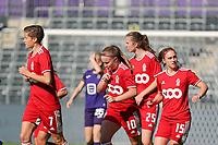 Davinia Vanmechelen (10) of Standard scores a goal during a female soccer game between RSC Anderlecht Dames and Standard Femina de Liege on the sixth matchday of the 2021 - 2022 season of Belgian Womens Super League , Saturday 9 th of October 2021  in Brussels , Belgium . PHOTO SPORTPIX   SEVIL OKTEM