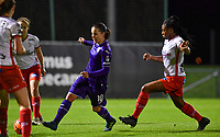 Stefania Vatafu (10) of Anderlecht pictured with Esther Buabadi (24) of Zulte-Waregem during a female soccer game between RSC Anderlecht Dames and SV Zulte Waregem on the 10 th matchday of the 2020 - 2021 season of Belgian Womens Super League , friday 18 th of December 2020  in Tubize , Belgium . PHOTO SPORTPIX.BE | SPP | DAVID CATRY