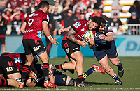 Codie Taylor is tackled during the 2020 Super Rugby match between the Crusaders and Highlanders at Orangetheory Stadium in Christchurch, New Zealand on Saturday, 9 August 2020. Photo: Joe Johnson / lintottphoto.co.nz