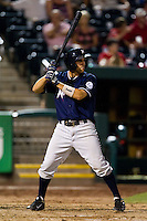 Jeff Bianchi (6) of the Northwest Arkansas Naturals at bat during a game against the Springfield Cardinals at Hammons Field on August 1, 2011 in Springfield, Missouri. Springfield defeated Northwest Arkansas 7-1. (David Welker / Four Seam Images)