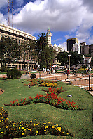 Life in Argentina  Plaza de Mayo gardens in downtown  Buenos Aires color park .