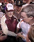 Florida State head coach Bobby Bowden and Clemson head coach and son Tommy Bowden talk at the end of the 9th Annual Bowden Bowl between Clemson's Tommy Bowden in Clemson S.C. September 3, 2007.  Clemson defeated the Seminoles 24-18.