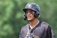 Quad Cities River Bandits shortstop Jeison Guzman (17) during a game against the Wisconsin Timber Rattlers on July 11, 2021 at Neuroscience Group Field at Fox Cities Stadium in Grand Chute, Wisconsin.  (Brad Krause/Four Seam Images)