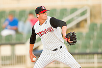 Kannapolis Intimidators starting pitcher Myles Jaye #10 in action against the Augusta GreenJackets at CMC-Northeast Stadium on May 3, 2012 in Kannapolis, North Carolina.  The Intimidators defeated the GreenJackets 11-1.  (Brian Westerholt/Four Seam Images)