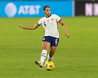 ORLANDO, FL - JANUARY 22: Lynn Williams #6 passes the ball during a game between Colombia and USWNT at Exploria stadium on January 22, 2021 in Orlando, Florida.