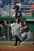 West Virginia Black Bears Ryan Haug (13) bats during a NY-Penn League game against the Batavia Muckdogs on June 27, 2019 at Dwyer Stadium in Batavia, New York.  West Virginia defeated Batavia 6-5 in ten innings.  (Mike Janes/Four Seam Images)
