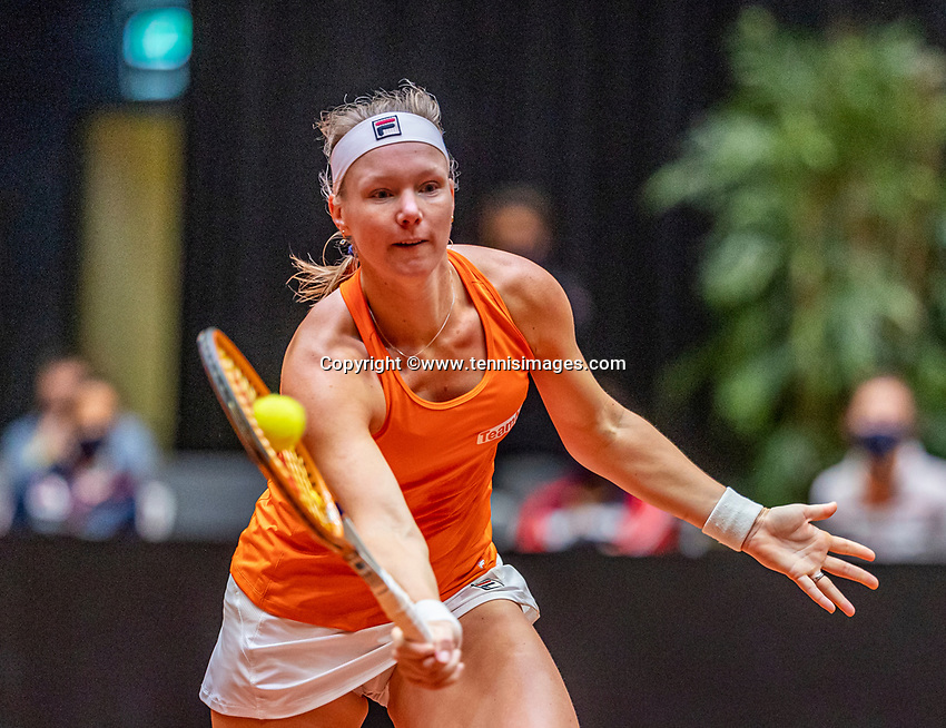 Den Bosch, The Netherlands, April 16, 2021,    Maaspoort, Billy Jean King Cup  Netherlands -  China , First Match: Kiki Bertens (NED) <br /> Photo: Tennisimages/Henk Koster