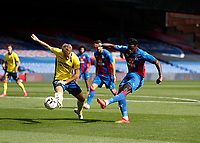 5th September 2020; Selhurst Park, London, England; Pre Season Friendly Football, Crystal Palace versus Brondby; Jeffrey Schlup of Crystal Palace taking a shot past Sigurd Rosted of Brondby