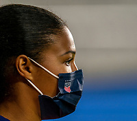 ORLANDO, FL - JANUARY 18: Margaret Purce #23 of the USWNT watches the game during a game between Colombia and USWNT at Exploria Stadium on January 18, 2021 in Orlando, Florida.