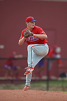 Philadelphia Phillies pitcher Spencer Howard (15) delivers a pitch during an Instructional League game against the Toronto Blue Jays on September 30, 2017 at the Carpenter Complex in Clearwater, Florida.  (Mike Janes/Four Seam Images)