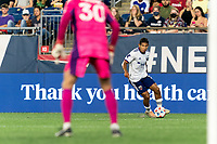 FOXBOROUGH, MA - AUGUST 18: Edison Flores #10 of D.C. United looks to pass during a game between D.C. United and New England Revolution at Gillette Stadium on August 18, 2021 in Foxborough, Massachusetts.