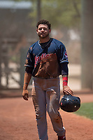 Cleveland Indians catcher Micael Ramirez (2) walks to the dugout after scoring a run during an Extended Spring Training game against the Arizona Diamondbacks at the Cleveland Indians Training Complex on May 27, 2018 in Goodyear, Arizona. (Zachary Lucy/Four Seam Images)