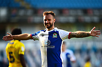 Blackburn Rovers' Adam Armstrong celebrates scoring his side's fifth goal to complete his hat-trick<br /> <br /> Photographer Richard Martin-Roberts/CameraSport<br /> <br /> The EFL Sky Bet Championship - Blackburn Rovers v Wycombe Wanderers - Saturday 19 September 2020 - Ewood Park - Blackburn<br /> <br /> World Copyright © 2020 CameraSport. All rights reserved. 43 Linden Ave. Countesthorpe. Leicester. England. LE8 5PG - Tel: +44 (0) 116 277 4147 - admin@camerasport.com - www.camerasport.com