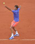 Roger Federer (SUI) defeats Damir Dzumhur (BIH) 6-4, 6-3, 6-2 at  Roland Garros being played at Stade Roland Garros in Paris, France on May 29, 2015