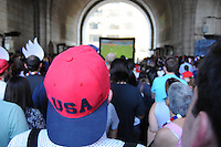 BROOKLYN, New York - Sunday June 22, 2014: Fans of the United States Men's National Team cheer them on under the Manhattan Bridge in Brooklyn's DUMBO neighborhood against Portugal in their second game of the 2014 World Cup in Brazil.