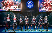 Team Trek-Segafredo at the pre race team presentation via TV<br /> <br /> 64th E3 Classic 2021 (1.UWT)<br /> 1 day race from Harelbeke to Harelbeke (BEL/204km)<br /> <br /> ©kramon