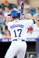Justin Ruggiano #17 of the Durham Bulls at bat against the Charlotte Knights at Durham Bulls Athletic Park on August 28, 2011 in Durham, North Carolina.   (Brian Westerholt / Four Seam Images)