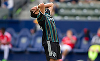 CARSON, CA - APRIL 25: Javier Hernandez #14 of the Los Angeles Galaxy narrowly misses a goal during a game between New York Red Bulls and Los Angeles Galaxy at Dignity Health Sports Park on April 25, 2021 in Carson, California.