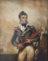 BNPS.co.uk (01202) 558833<br /> Pic: Morton&Eden/BNPS<br /> <br /> Pictured: Captain Sir William Hoste Wearing His Gold Naval Medal. <br /> <br /> A prestigious gold medal awarded to Admiral Lord Nelson's adored naval protege has been sold by his family for £120,000.<br /> <br /> Captain Sir William Hoste was just 12 years old when he became Nelson's 'Captain's Servant' on the HMS Agamemnon in 1793.<br /> <br /> He earned the British naval hero's admiration over the next five years for his conduct at sea, notably during the Battle of the Nile.