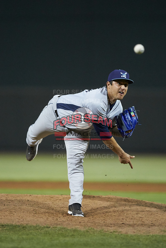 Wilmington Blue Rocks relief pitcher Daniel Duarte (39) delivers a pitch to the plate against the Winston-Salem Dash at BB&T Ballpark on April 16, 2019 in Winston-Salem, North Carolina. The Blue Rocks defeated the Dash 4-3. (Brian Westerholt/Four Seam Images)