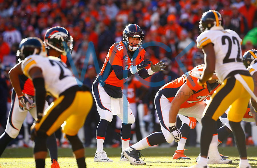 Peyton Manning #18 of the Denver Broncos in action against the Pittsburgh Steelers during the AFC Divisional Round Playoff game at Sports Authority Field at Mile High on January 17, 2016 in Denver, Colorado. (Photo by Jared Wickerham/DKPittsburghSports)
