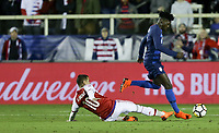 Cary, N.C. - Tuesday March 27, 2018: Derlis González, Timothy Weah during an International friendly game between the men's national teams of the United States (USA) and Paraguay (PAR) at Sahlen's Stadium at WakeMed Soccer Park.