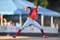Lakewood BlueClaws starting pitcher Manuel Silva (14) delivers a pitch during a game against the Asheville Tourists at McCormick Field on August 6, 2019 in Asheville, North Carolina. The Tourists defeated the BlueClaws 5-2. (Tony Farlow/Four Seam Images)